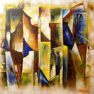 Life In A City by HARISH KUMAR, Abstract Painting, Acrylic on Canvas, Teak color