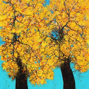 tree of life by Bhaskara Rao Botcha, Expressionism Painting, Acrylic on Canvas, Golden Grass color