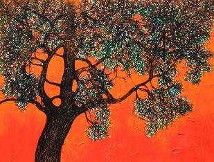tree of life by Bhaskara Rao Botcha, Expressionism Painting, Acrylic on Canvas, Flamingo color