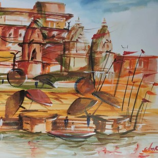 Shaam-E-Banaras by Ankita Upadhyay, Impressionism Painting, Watercolor on Paper, Hillary color