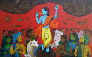 govardhan by Prakash Pore, Expressionism Painting, Acrylic on Canvas, Cedar Chest color