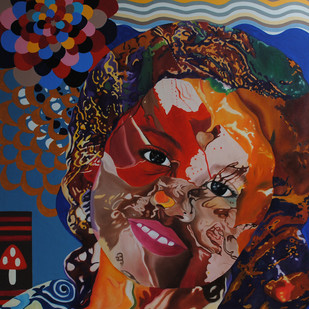 Flights of Imagination (Rango Ki Holi-I) by Shikha Rajoria, Expressionism Painting, Oil & Acrylic on Canvas, Jon color