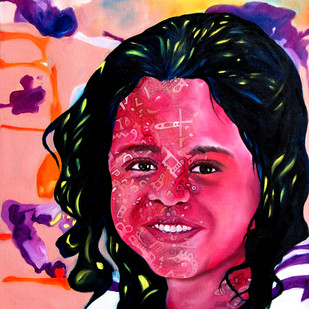 Flights of Imagination (Smile-2) by Shikha Rajoria, Expressionism Painting, Oil on Canvas, Blush color
