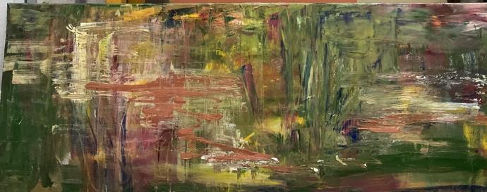 Vision 1 by Geetu Navin Kalani, Abstract Painting, Mixed Media, Tobacco Brown color