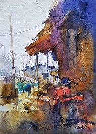 Dhodani village by Vikrant Shitole, Impressionism Painting, Watercolor on Paper, Ferra color