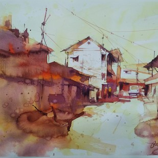 Panvel market street by Vikrant Shitole, Impressionism Painting, Watercolor on Paper, Cement color