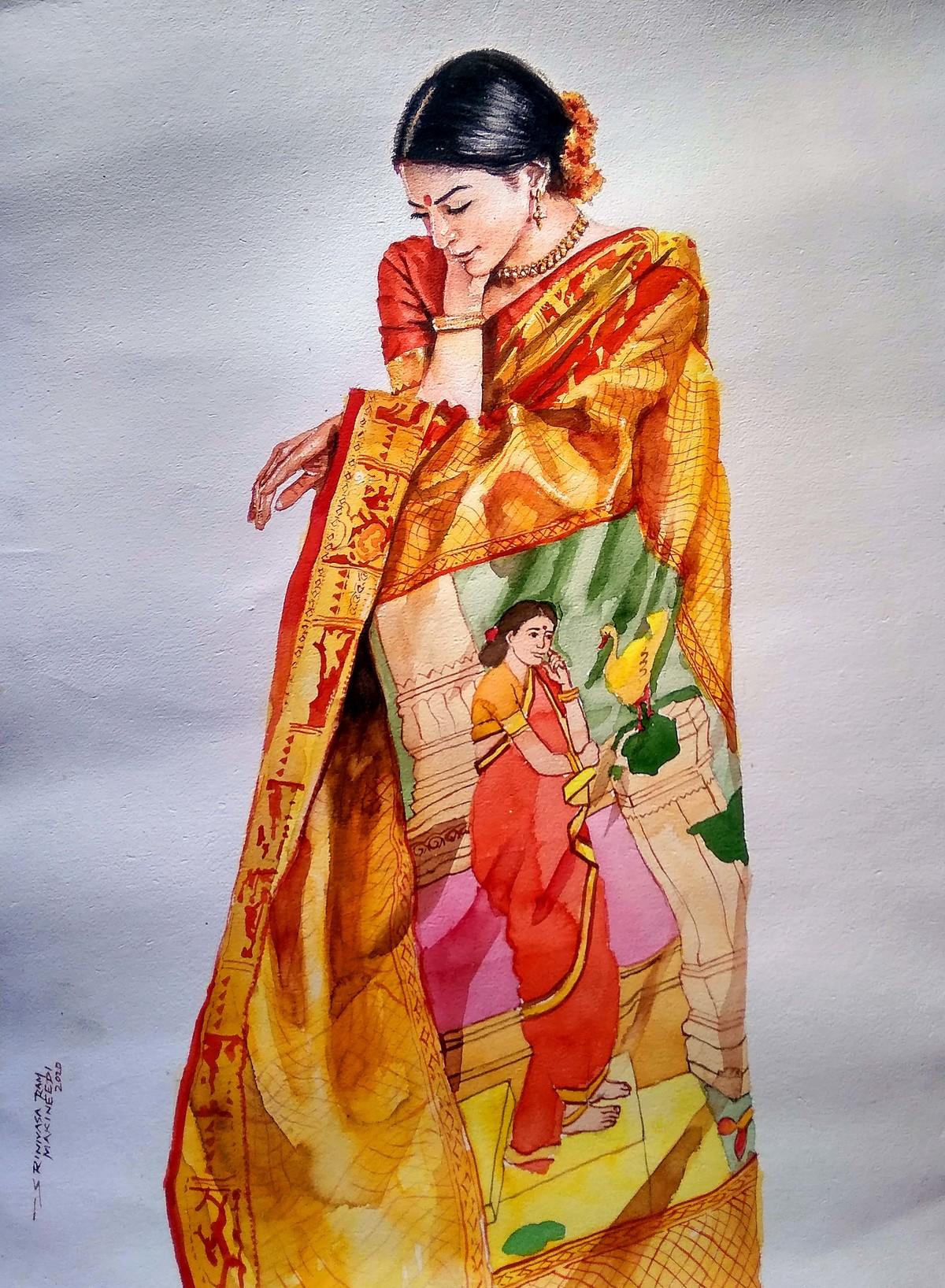 Lady with Ravi rarma painting saree Digital Print by Sreenivasa Ram Makineedi,Impressionism