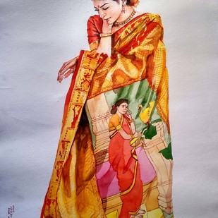 Lady with Ravi rarma painting saree by Sreenivasa Ram Makineedi, Impressionism Painting, Watercolor on Paper, Pale Slate color