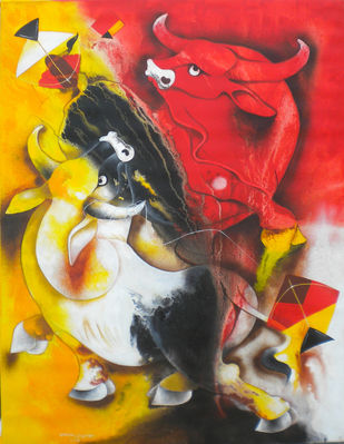 bull and kite by Uttam Manna, Expressionism Painting, Acrylic on Canvas, Quill Gray color