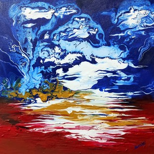 Convergence by Srishti Bansal, Abstract Painting, Acrylic on Canvas, Sisal color