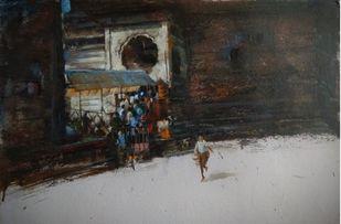 temple by Pradipkumar Jadhav, Impressionism Painting, Acrylic on Board, Cloudy color