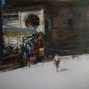 temple by Pradipkumar Jadhav, Impressionism Painting, Acrylic on Board, Cloudy color