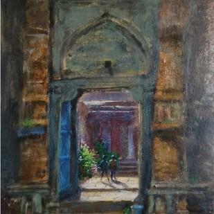 temple by Pradipkumar Jadhav, Impressionism Painting, Acrylic on Paper, Merlin color