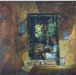 seller by Pradipkumar Jadhav, Impressionism Painting, Acrylic on Board, Fuscous Gray color