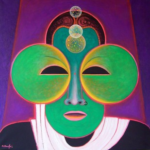COSMIC CONNECTION by Mahirwan Mamtani, Expressionism Painting, Acrylic on Canvas, Jungle Green color