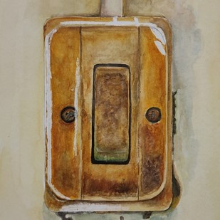 Vintage switch by mahesh verma, Impressionism Painting, Watercolor on Paper, Gray Olive color