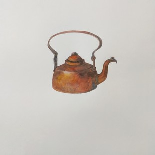 Copper pot by mahesh verma, Impressionism Painting, Watercolor on Paper, Cloud color