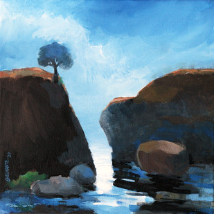Landscape by Vijay Shelwante, Impressionism Painting, Acrylic on Canvas, Spindle color