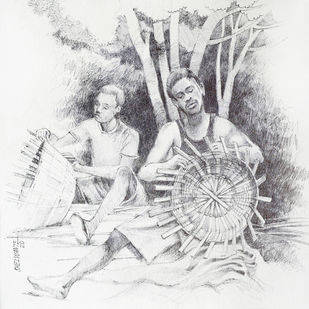 Bamboo Worker 1 by Vijay Shelwante, Illustration Drawing, Pen on Canvas, Desert Storm color