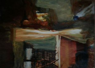 Inside outside window by Wrupanjali Baruah, Abstract Painting, Oil on Acrylic Sheet, Zeus color