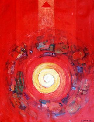 Pradakshina 021 by Ganesh Patil, Abstract Painting, Acrylic on Canvas, Cardinal color