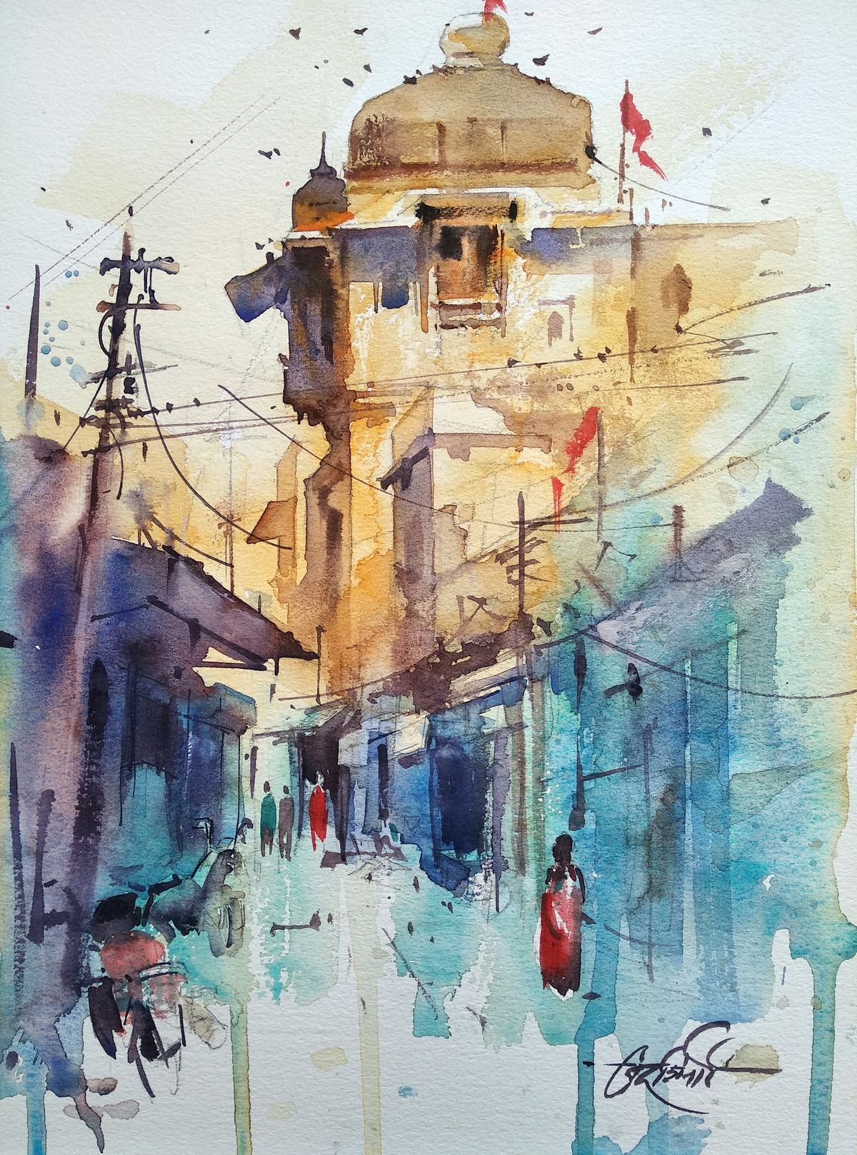 Bundi Street by Vikrant Shitole, Impressionism Painting, Watercolor on Paper, Fiord color