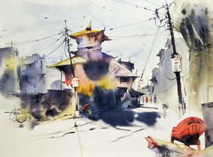 Madhyapur Thimi streets by Vikrant Shitole, Impressionism Painting, Watercolor on Paper, Tuna color
