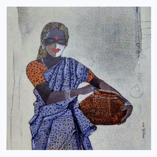 Indian women by sharath kumar , Expressionism Painting, Acrylic & Ink on Paper, Pumice color