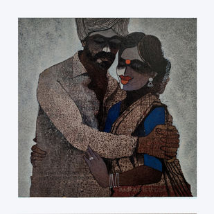 Indian couple by sharath kumar , Expressionism Painting, Acrylic & Ink on Canvas, White Lilac color