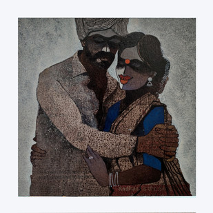 Indian couple Digital Print by sharath kumar ,Expressionism