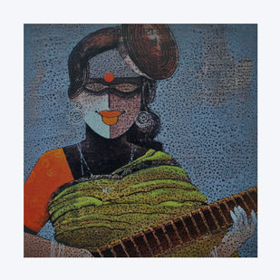 Lady with Veena by sharath kumar , Expressionism Painting, Acrylic & Ink on Paper, Outer Space color