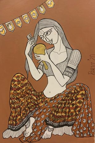 Girl with the golden mirror by Parul Aggarwal, Expressionism Painting, Acrylic & Ink on Paper, Cape Palliser color