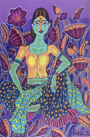 Happiness in solitude !! by Parul Aggarwal, Expressionism Painting, Acrylic on Paper, Cyber Grape color