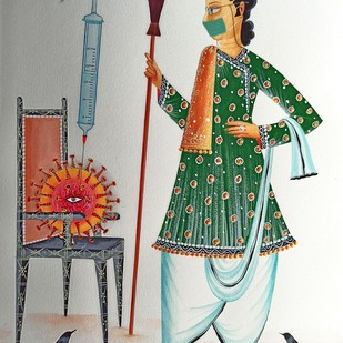 Have no fear, Babu is here by Bhaskar Chitrakar, Folk Painting, Natural colours on paper, Celeste color