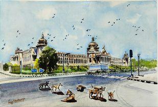 Reclaiming their space by Lasya Upadhyaya, Impressionism Painting, Watercolor on Paper, Kangaroo color