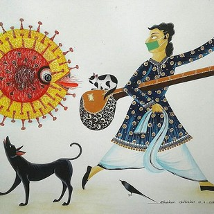 Leave me alone, please! by Bhaskar Chitrakar, Folk Painting, Natural colours on paper, Celeste color