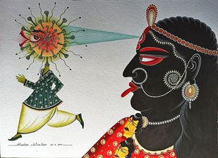 Kali Kills Kovid by Bhaskar Chitrakar, Folk Painting, Natural colours on paper, Tuatara color