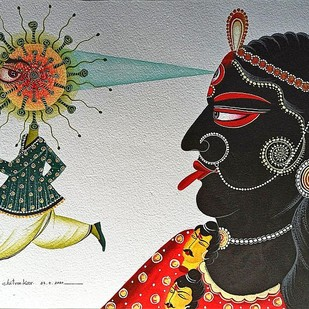 Kali Kills Kovid by Bhaskar Chitrakar, Folk Painting, Natural colours on paper, Tuatara color