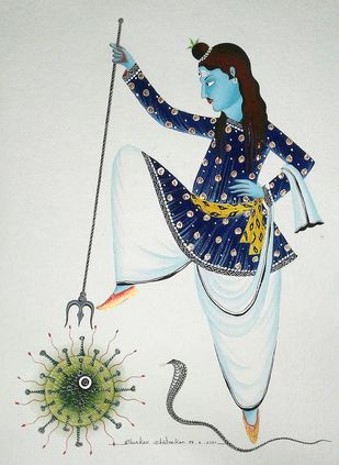Shiva The Destroyer by Bhaskar Chitrakar, Folk Painting, Natural colours on paper, Ebony Clay color