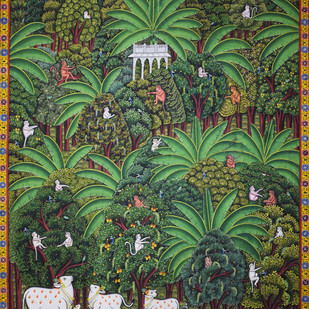 Pichwai by Unknown Artist, Folk Painting, Natural stone colour on cotton,