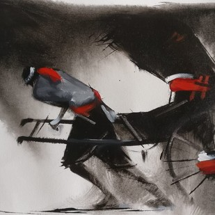 Rickshaw Puller series - 11 by Dilip Chaudhury, Impressionism Painting, Mixed Media on Canvas, Silver color