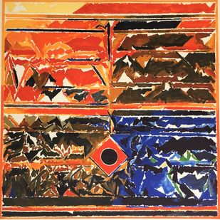 Untitled by S H Raza, Geometrical Printmaking, Lithography on Paper, Tuscany color