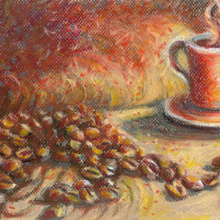 Coffee beans and Mug Digital Print by Shalini Sinha,Expressionism