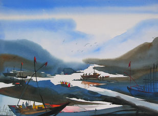 Mindscape by Sunil Kale, Impressionism Painting, Pen, pencil, watercolour on paper, River Bed color