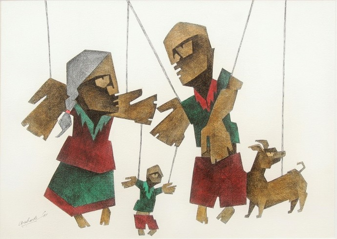 Untitled by Ashok Bhowmik, Expressionism Painting, Ink on Paper, Tobacco Brown color
