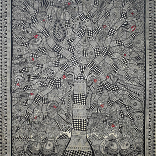 Madhubani Painting by Unknown Artist, Folk Painting, Acrylic on Canvas,