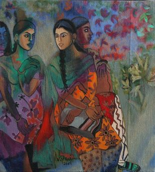Untitled by Anjani Reddy, Expressionism Painting, Acrylic on Canvas, Dorado color