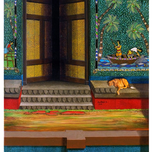 COURTYARD OF MEMORIES 17th by Santhosh Andrade , Expressionism Painting, Acrylic on Canvas,