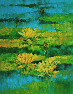 Waterlilies - 108 by Swati Kale, Expressionism Painting, Oil on Canvas, Sea Green color