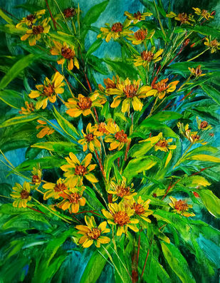Floral Glory by Swati Kale, Expressionism Painting, Oil on Canvas, Nugget color